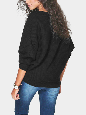 Black Long Sleeves Loose Jumper
