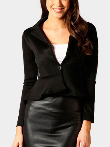 Black Single Button Blazer with Irregular Hem