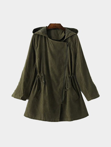 Army Green Hooded Trench Coat With Drawstring Waist