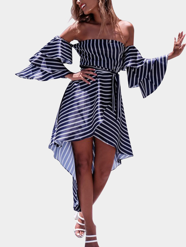 Off-The-Shoulder Layer Design Stripe Dress in Blue