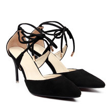 Black Suede Pointue Toe Lace-up Stiletto Heels