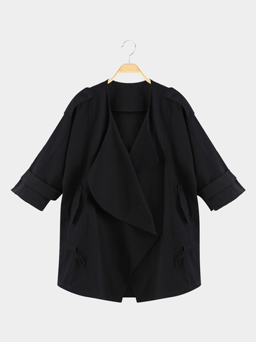 Classics Collection Solid Black 3/4 Sleeve Waist Tie Trench Coat
