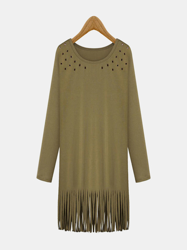 Plus Size Army Green Hollow Out Tassels Dress