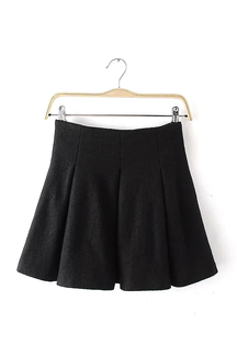 Black High-Waisted Pleated Mini Skirt