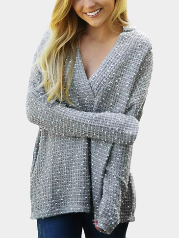 Long Sleeves Jacquard Loose Plunge Jumper