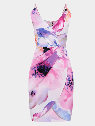 Floral Wrap Front  Spaghetti Strap Dress