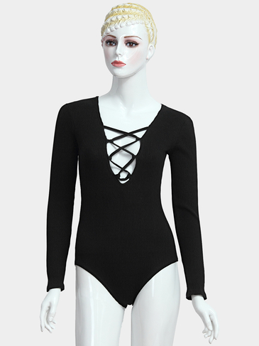Schwarz Lace Up Bodysuit In Strick