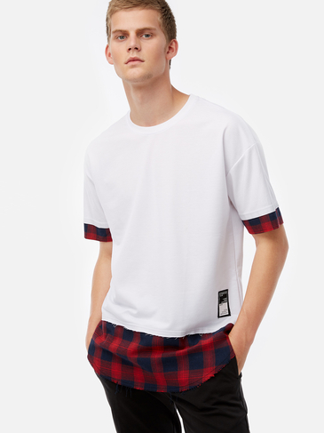 White Fake Two Pieces Crew Neck Short Sleeve Men's T-Shirt