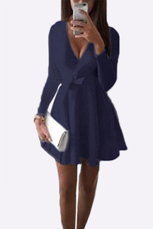 Dark Blue V-neck Mini Dress with Belts