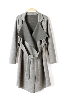 Belted Knit Trench Coat