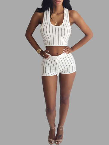White Stripe Pattern Hooded Sleeveless Top & Drawstring Waist Shorts