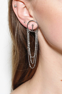 Sliver Fashion Geometric Alloy Chain Tassel Earrings