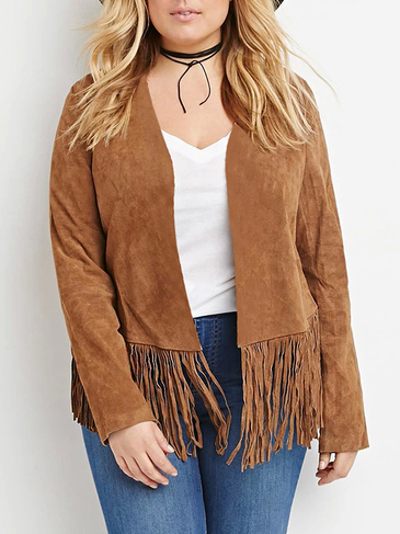 Plus Size Suede Coat with Tassel Hem