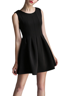 Nero senza maniche Skater Dress