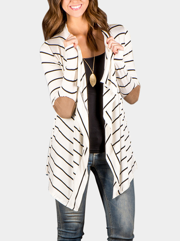 White Stripe Long Sleeve PU Elbow Draped Cardigan