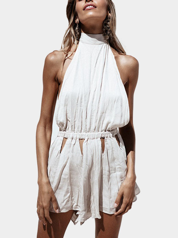 White Sexy Halter Backless Design Playsuit com Cut Out