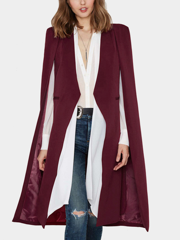 Bourgogne Cape Design Longline Button Coat Blazer