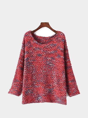 Eyelash Knit Ball Sweater in Red