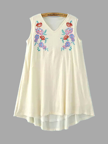 Embroidery Sleeveless Dress