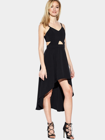 Black Plunge Wrap Front Cut Out High Low Hem Midi Dress