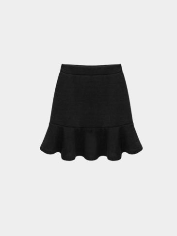 Plus Size Black Flouncing Mini Skirt