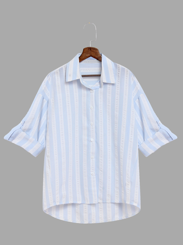 Light Blue And White Stripe Pattern Shirt