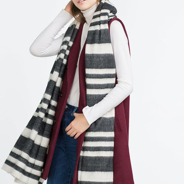 Stripe Scarf in Black and Beige