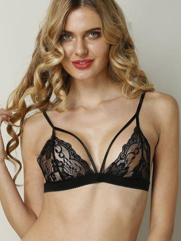 Sexy Black Adjustable Straps Bralet with Lace Details with No Falsies