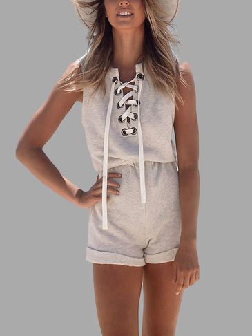 Lace-up Front Playsuit