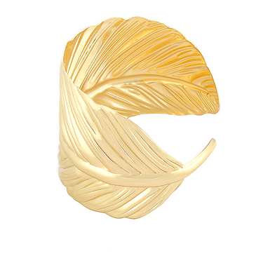 Gold Leaf Shaped Open Cuff Bracelet
