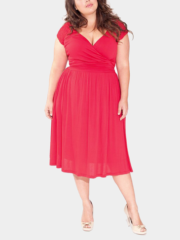 Plus Size Wrap Dress with Lace Sleeves