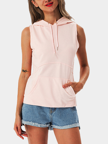 Pink Casual Sleeveless Hooded Top