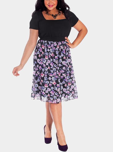 Plus Size Midi Dress with Square Neck