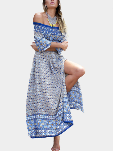 Boho Loose Off Shoulder Random Print Side Slit Maxi Dress