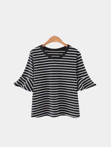 Black Stripe Pattern Flounced Sleeves Round Neck Casual Style T-shirt