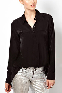 Black Chiffon Blouse with Splited back