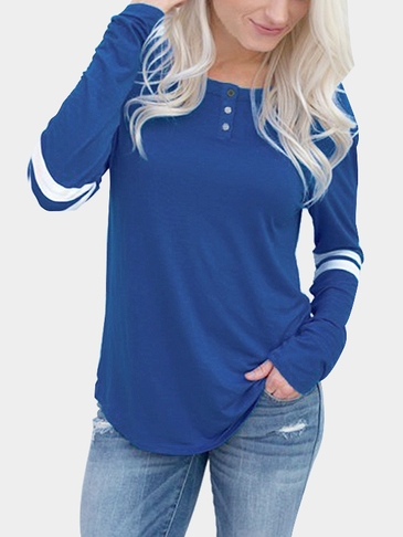 Blue and White Round Neck Loose T-shirt with Button Design