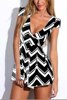 Black Chevron Print V Neck Pleated Cap Sleeve Playsuit