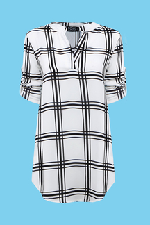 V-Neck Chiffon Blouse In Check Pattern