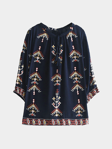 Retro Style Loose Loose Sleeves Random Print Blouse