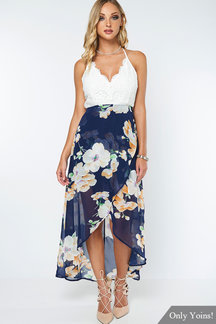 Wrap Front Floral Print Maxi Dress with Lace Détails