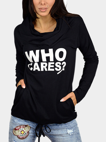 Black Casual Slogan Hooded Hoodie
