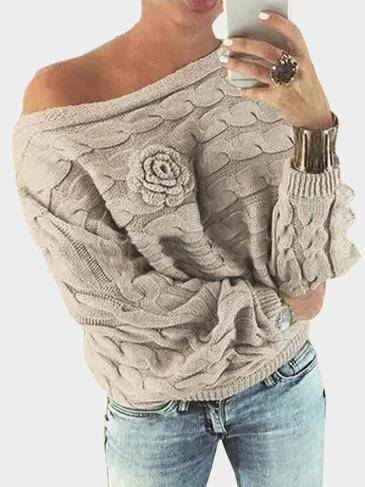 Beige Off Shoulder Bat-wing Sleeves Random Point Floral Sweater