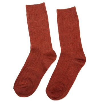 Brick Red Casual Ribbed Ankle Socks