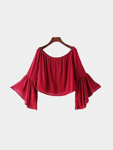 Off The Shoulder Flared Sleeves Blouse