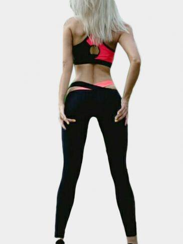 Multicolor Backless Crop Top & Cross Front Leggings Yoga Suit