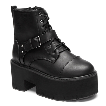 Black Buckle Embellished Lace-up Design Short Boots