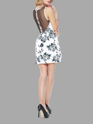 Random Floral Print Crew Round Lace Skater Dress with Button