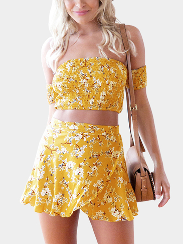Random Floral Print Off Shoulder Crop Top & Self-tie Skirt Co-ord In Yellow