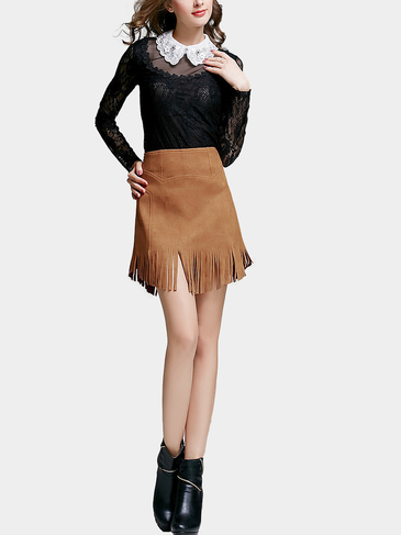 Khaki Fringe Tassel Mini Skirt